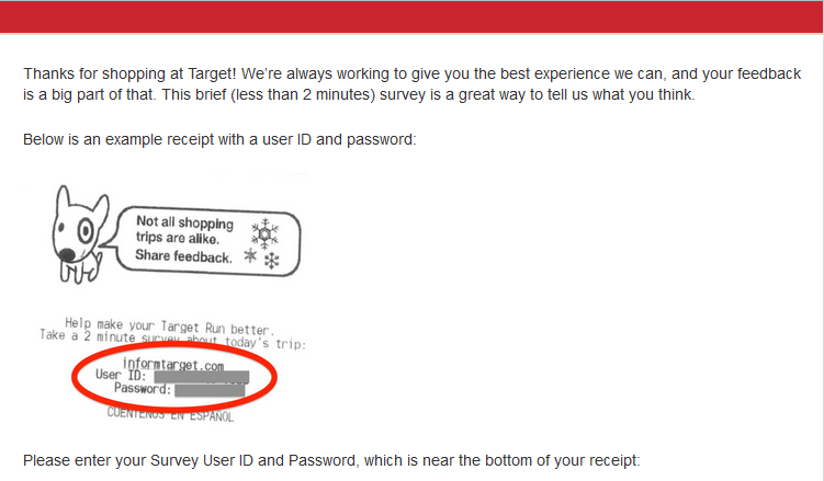 informtarget.com target receipt survey