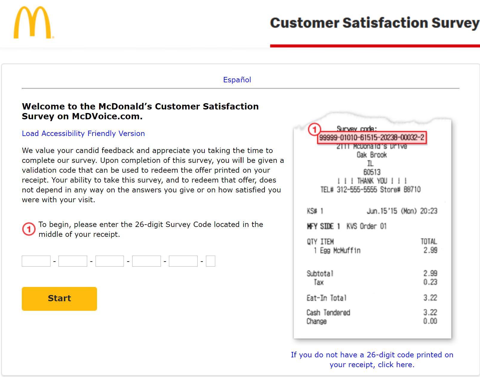 mcdvoice receipt survey