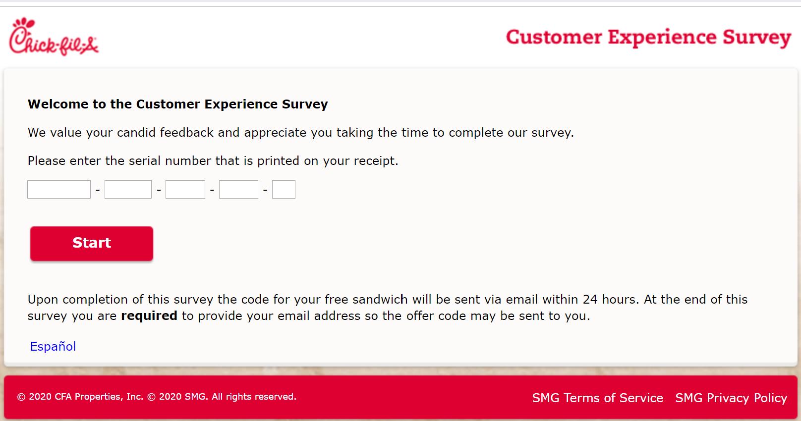 www.mycfavisit.com survey get a free sandwich